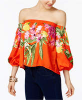 INC International Concepts Petite Floral-Print Off-The-Shoulder Top, Only at Macy's