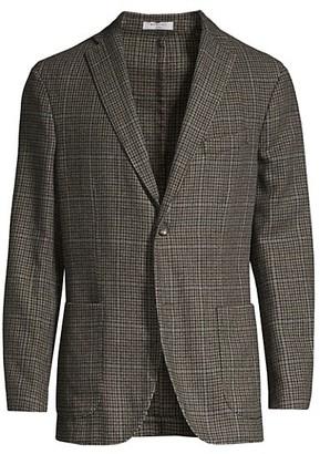 Boglioli Houndstooth Windowpane Wool-Blend Jacket