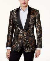 Tallia Men's Big and Tall Slim-Fit Brown/Black Floral Shawl-Collar Dinner Jacket