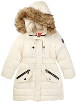 Catherine Malandrino Faux Fur Trimmed Hooded Long Bubble Jacket (Big Girls)