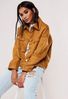 Missguided Tan Boxy Bonded Faux Suede Trucker Jacket