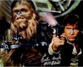 "Star Wars Peter Mayhew Signed ""Chewbacca"" with Han Solo Defending the Millenium Falcon Episode IV: A New Hope 8"" x 10"" Photo"