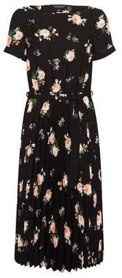 Dorothy Perkins Womens Black Floral Print Turn Back Pleated Midi Dress, Black