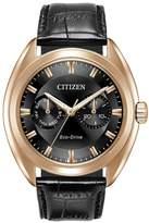 Citizen Eco-Drive Black Multi Dial Rose Tone Case Black Leather Strap Mens Watch