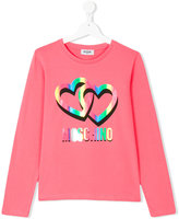 Moschino Kids Teen logo and heart print T-shirt