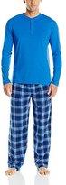 Izod Men's Microfleece Pant and Jersey Henley Top Pajama Set