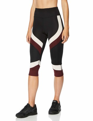 Amazon Brand - AURIQUE Women's Colour Block Cropped Sports Leggings