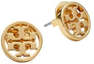 Tory Burch 16K Yellow Goldplated Logo Circle Stud Earrings