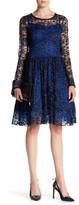 Eva Franco Crocheted Mesh Sleeve Flare Dress