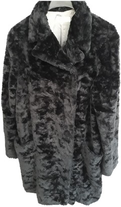 Marella Black Faux fur Coat for Women Vintage