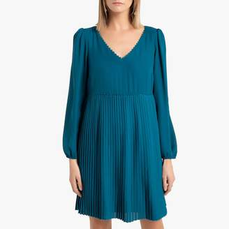 Naf Naf Short Pleated Empire Dress with Long Puff Sleeves