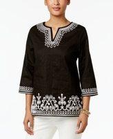 Alfred Dunner Petite Lace It Up Cotton Embroidered Tunic