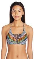 Jessica Simpson Women's Dakota Placement Reversible Strap Front Triangle Bikini Top