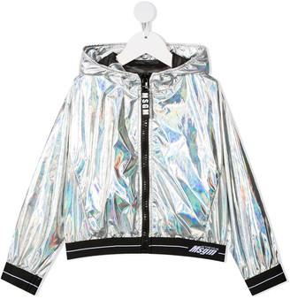Msgm Kids Iridescent Effect Hooded Jacket