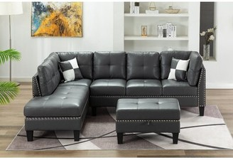 Alcott Hill Spriggs Modular Sectional with Ottoman Fabric: Gray, Orientation: Left Hand Facing