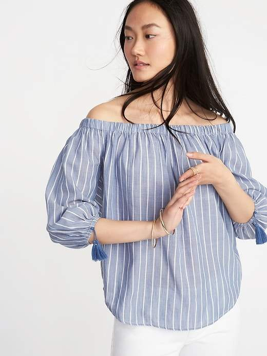 Old Navy Off-the-Shoulder Tassel-Cuff Top for Women