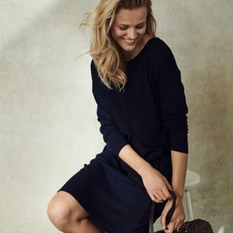 The White Company Piped Jersey Cocoon Dress, Navy, 6