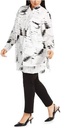 Alfani Plus Size Layered-Look Printed Blouse