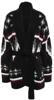 IRO Trendy Belted Jacquard-knit Alpaca-blend Cardigan