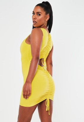 Missguided Lime Slinky Sleeveless Ruched Bum Mini Dress