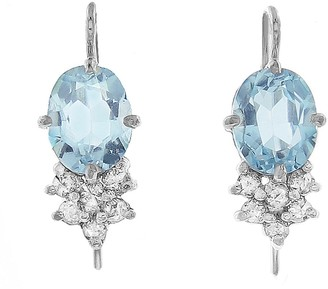 Cathy Waterman Oval Blue Topaz with Diamond Cluster Earrings