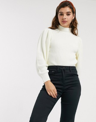 Asos DESIGN chunky rib jumper with volume sleeve