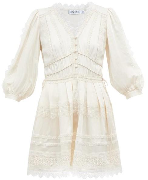 Self-Portrait V-neck Lace-trimmed Mini Dress - Ivory