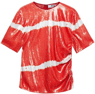MSGM Gathered Sequined Tie-dyed Georgette Top