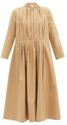 Jil Sander Nikki Pleated Cotton Shirt Dress - Tan