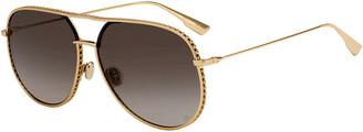 Christian Dior Aviator Cutout Metal Sunglasses