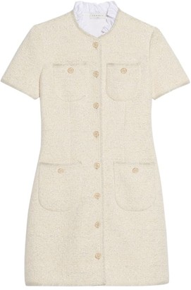 Sandro Taly Tweed Ruffle Collar Dress