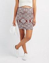 Charlotte Russe Medallion Print Bodycon Mini Skirt