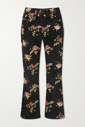 R 13 Kick Fit Cropped Floral-print High-rise Flared Jeans - Black