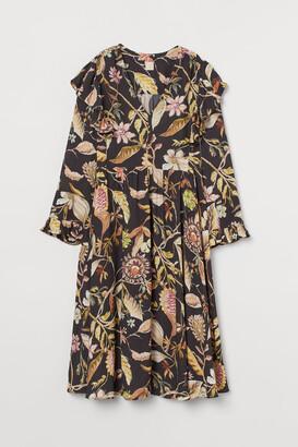 H&M Flounce-trimmed Dress - Beige