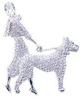 Butler & Wilson Butler and Wilson Large Crystal Lady and Dog Brooch