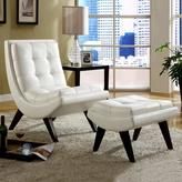 Home Origin Sophia Milky Chair with Ottoman in Faux Leather