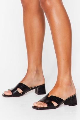 Nasty Gal Womens The Golden Mule Croc Block Heel Sandals - Black