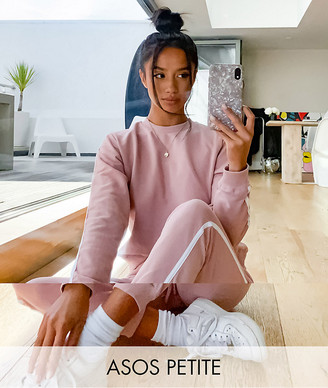 ASOS DESIGN Petite tracksuit sweat / basic jogger with tie with contrast binding in organic cotton in blush