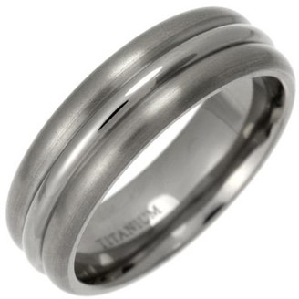 Theia Titanium Court Triple Embossed 7mm Ring - Size O