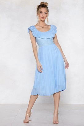 Nasty Gal Womens Pleat Your Match Midi Dress - Blue - 10