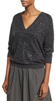 Brunello Cucinelli Animale Paillette Embroidered Cashmere Boyfriend Sweater, Onyx