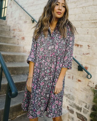 The Drop Women's Charcoal Floral Print 3/4 Sleeve Loose-Fit Shirt Dress by @spreadfashion XS