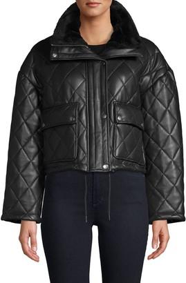 Bagatelle Faux Fur-Trim Quilted Faux Leather Jacket