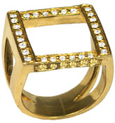 Melinda Maria Margo Square White and Yellow Ring