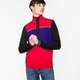 Paul Smith Men's Red And Purple Colour-Block Merino Wool Funnel-Neck Half-Zip Cardigan