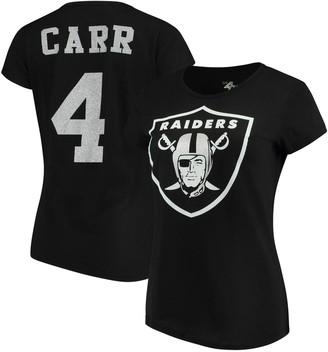 G Iii Women's G-III 4Her by Carl Banks Derek Carr Black Oakland Raiders Glitter Endzone Player Name & Number T-Shirt