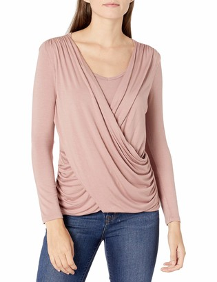 Everly Grey Women's Brooklyn Maternity and Nursing Cross Over Draped Long Sleeve Top