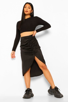 boohoo Petite Satin Ruched Front Midi Skirt