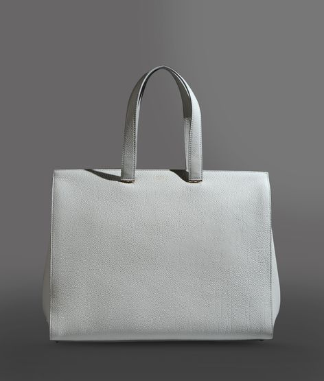 Giorgio Armani Shopping Bag In Hammered Leather With Logo