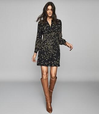 Reiss Arabella - Spot Printed Mini Dress in Black
